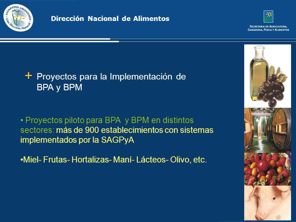 Proyectos para la Implementación de BPA y BPM Dirección Nacional de Alimentos Proyectos piloto para BPA y BPM en distintos sectores: más de 900 establ