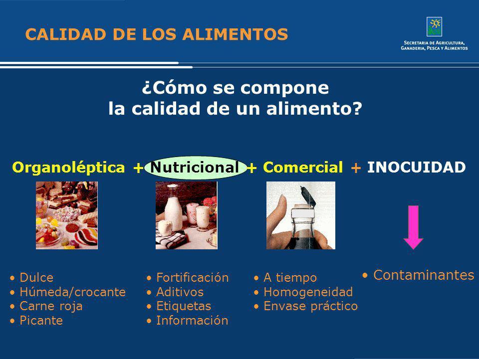 CALIDAD DE LOS ALIMENTOS ¿Cómo se compone la calidad de un alimento? Organoléptica + Nutricional + Comercial + INOCUIDAD Contaminantes Dulce Húmeda/cr