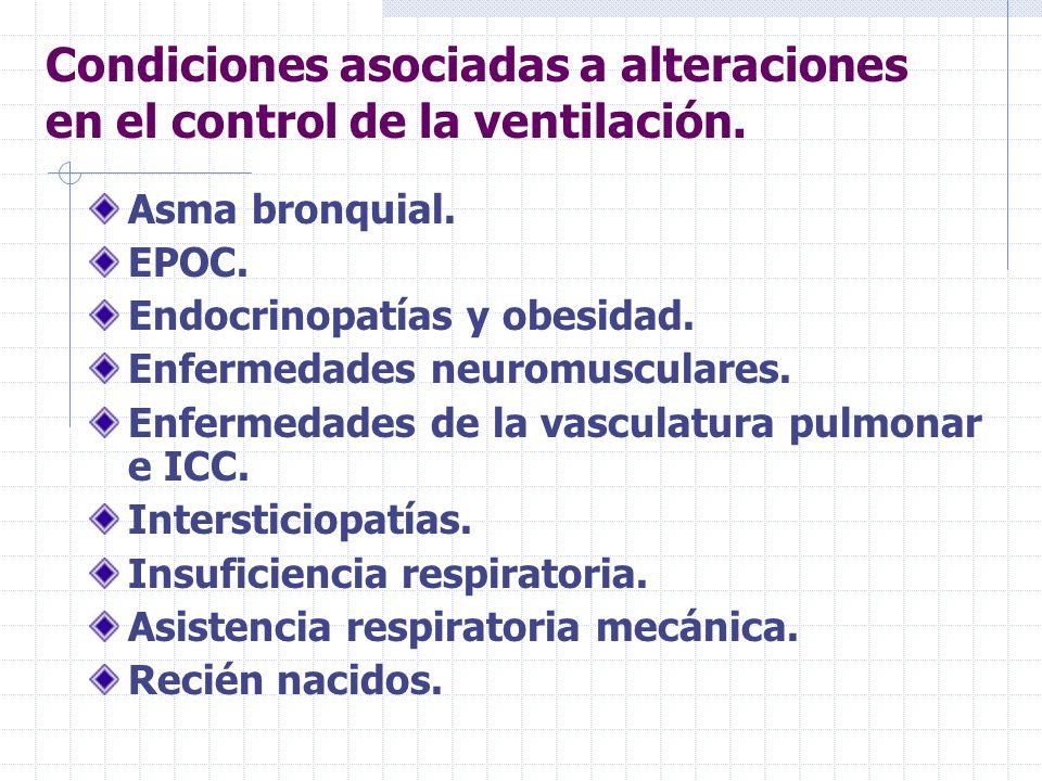 Condiciones asociadas a alteraciones en el control de la ventilación.