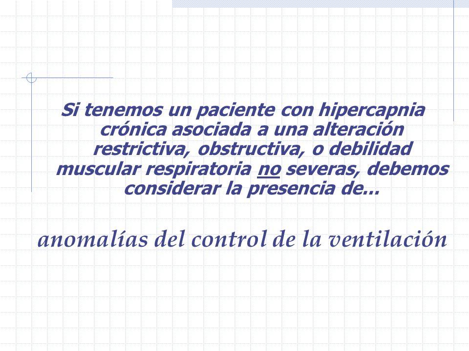 Si tenemos un paciente con hipercapnia crónica asociada a una alteración restrictiva, obstructiva, o debilidad muscular respiratoria no severas, debemos considerar la presencia de...