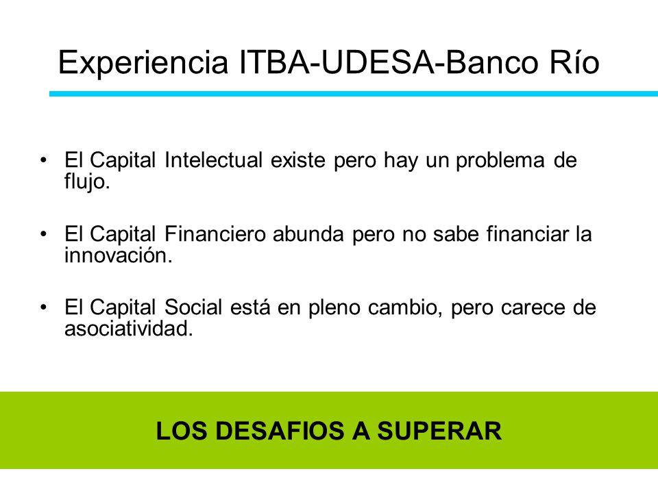 Experiencia ITBA-UDESA-Banco Río El Capital Intelectual existe pero hay un problema de flujo. El Capital Financiero abunda pero no sabe financiar la i