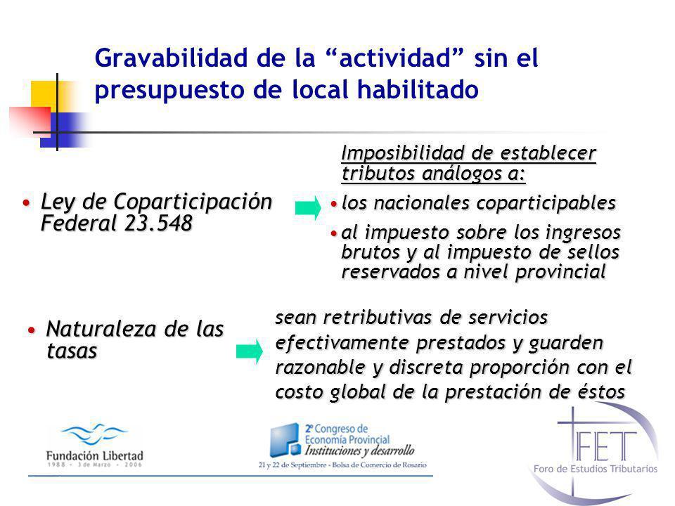 Gravabilidad de la actividad sin el presupuesto de local habilitado Ley de Coparticipación Federal 23.548Ley de Coparticipación Federal 23.548 Imposib
