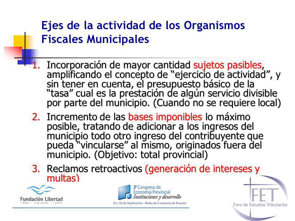 Ejes de la actividad de los Organismos Fiscales Municipales 1.Incorporación de mayor cantidad sujetos pasibles, amplificando el concepto de ejercicio