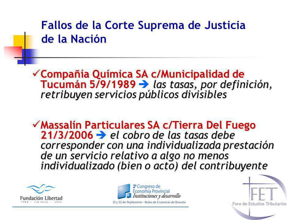 Fallos de la Corte Suprema de Justicia de la Nación Compañía Química SA c/Municipalidad de Tucumán 5/9/1989las tasas, por definición, retribuyen servi