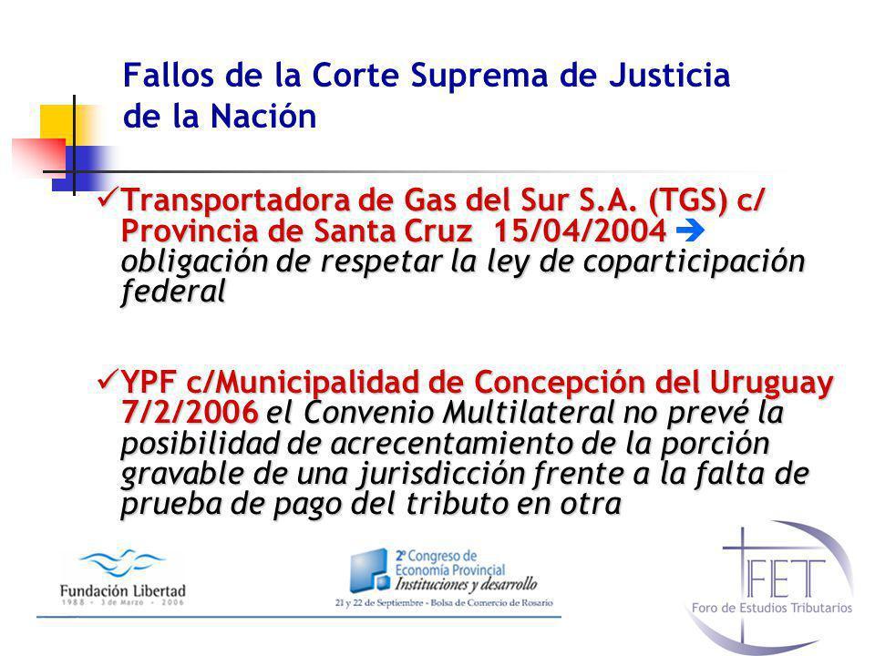 Fallos de la Corte Suprema de Justicia de la Nación Transportadora de Gas del Sur S.A. (TGS) c/ Provincia de Santa Cruz 15/04/2004 obligación de respe