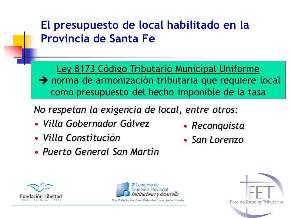 El presupuesto de local habilitado en la Provincia de Santa Fe No respetan la exigencia de local, entre otros: Villa Gobernador GálvezVilla Gobernador