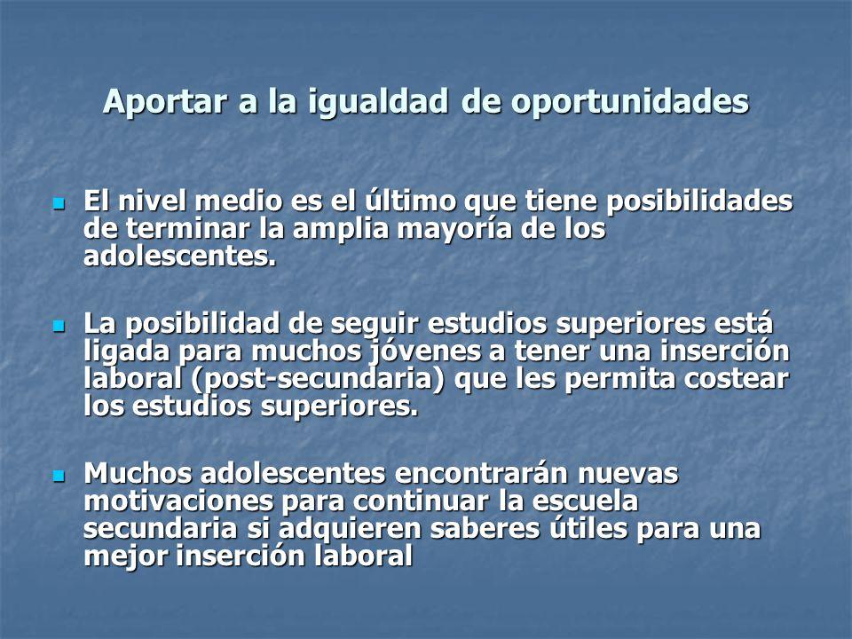 Aportar a la igualdad de oportunidades El nivel medio es el último que tiene posibilidades de terminar la amplia mayoría de los adolescentes. El nivel