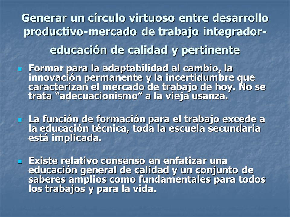 Generar un círculo virtuoso entre desarrollo productivo-mercado de trabajo integrador- educación de calidad y pertinente Formar para la adaptabilidad