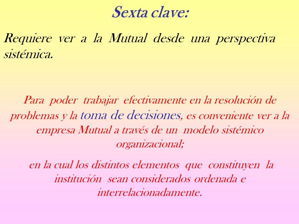 Sexta clave: Requiere ver a la Mutual desde una perspectiva sistémica.
