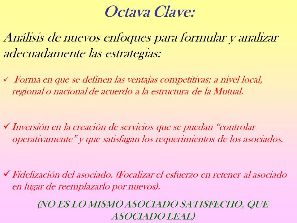 Octava Clave: Análisis de nuevos enfoques para formular y analizar adecuadamente las estrategias: Forma en que se definen las ventajas competitivas; a nivel local, regional o nacional de acuerdo a la estructura de la Mutual.