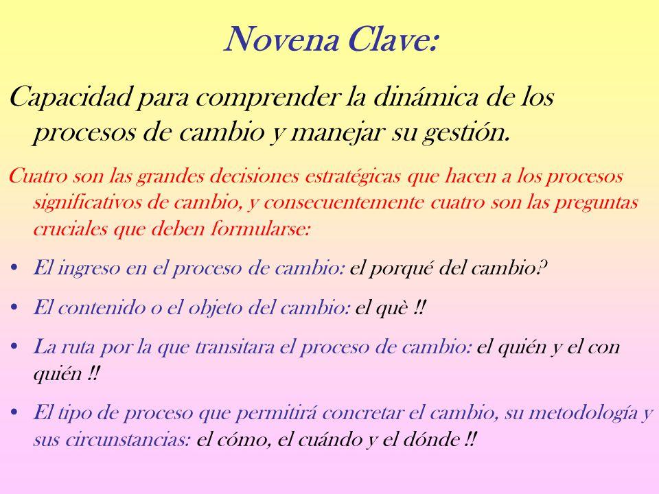 Novena Clave: Capacidad para comprender la dinámica de los procesos de cambio y manejar su gestión.