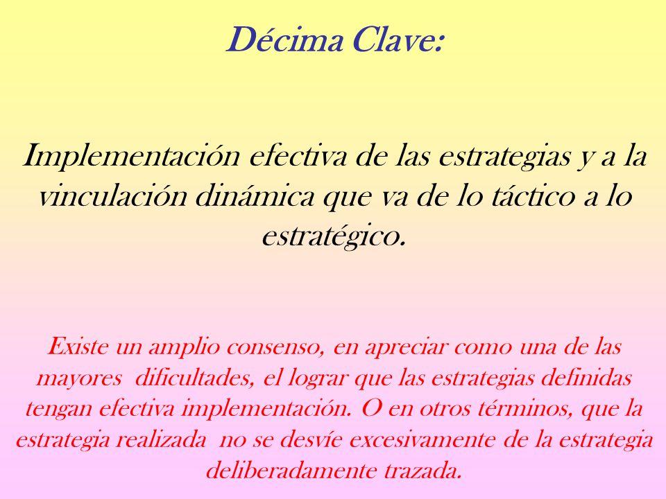 Décima Clave: Implementación efectiva de las estrategias y a la vinculación dinámica que va de lo táctico a lo estratégico.