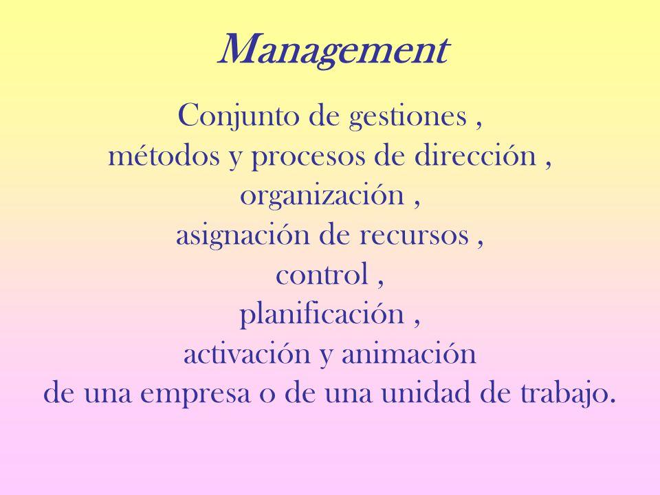 Management Conjunto de gestiones, métodos y procesos de dirección, organización, asignación de recursos, control, planificación, activación y animación de una empresa o de una unidad de trabajo.