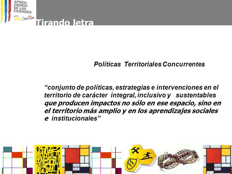 Tirando letra Políticas Territoriales Concurrentes conjunto de políticas, estrategias e intervenciones en el territorio de carácter integral, inclusivo y sustentables que producen impactos no sólo en ese espacio, sino en el territorio más amplio y en los aprendizajes sociales e institucionales