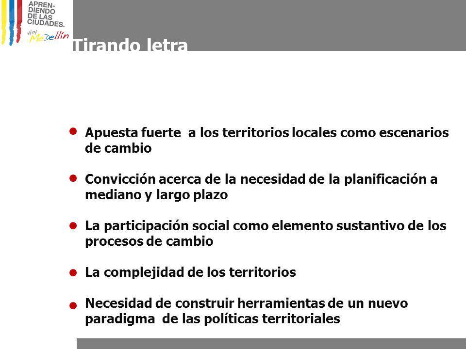 Tirando letra Apuesta fuerte a los territorios locales como escenarios de cambio Convicción acerca de la necesidad de la planificación a mediano y largo plazo La participación social como elemento sustantivo de los procesos de cambio La complejidad de los territorios Necesidad de construir herramientas de un nuevo paradigma de las políticas territoriales