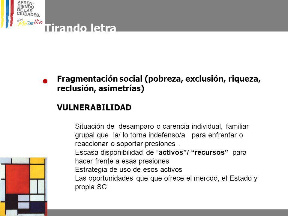 Tirando letra Fragmentación social (pobreza, exclusión, riqueza, reclusión, asimetrías) VULNERABILIDAD Situación de desamparo o carencia individual, f