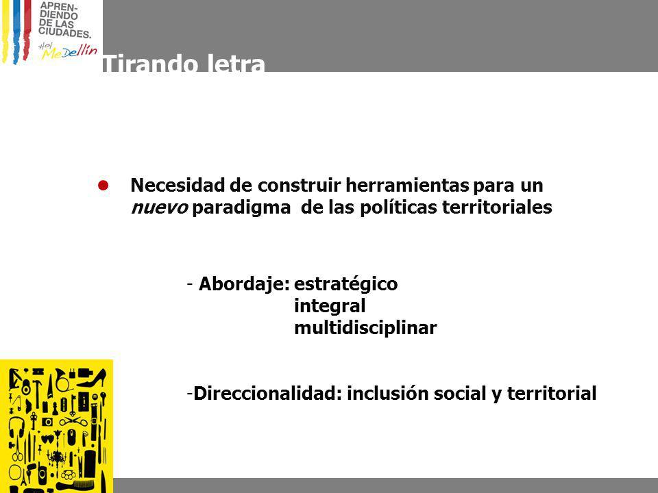 Tirando letra - Abordaje: estratégico integral multidisciplinar -Direccionalidad: inclusión social y territorial Necesidad de construir herramientas para un nuevo paradigma de las políticas territoriales