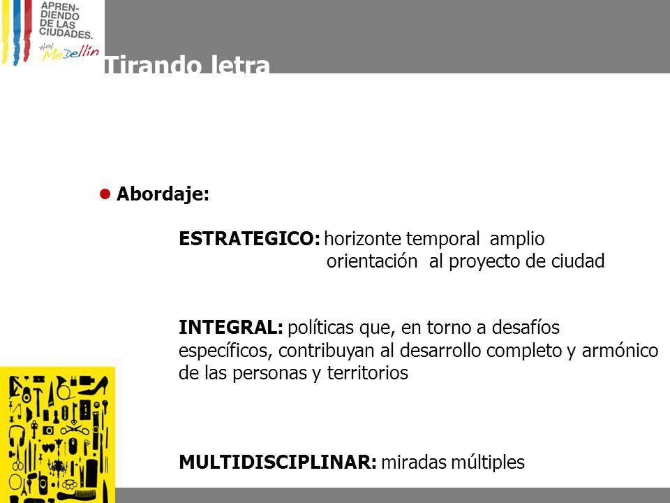 Tirando letra Abordaje: ESTRATEGICO: horizonte temporal amplio orientación al proyecto de ciudad INTEGRAL: políticas que, en torno a desafíos específi