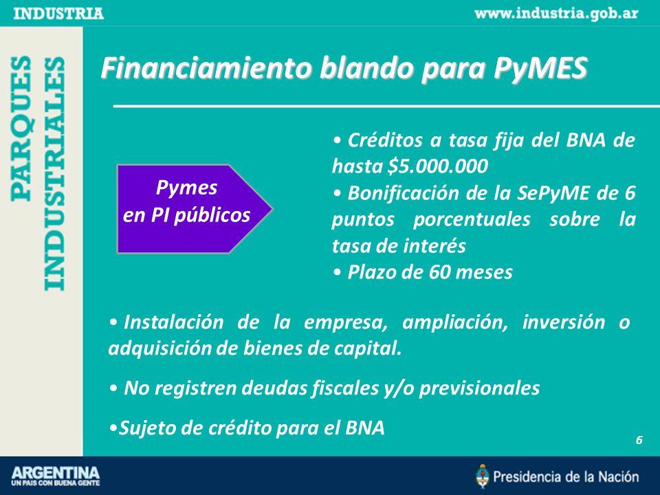 Financiamiento blando para PyMES 6 Pymes en PI públicos Instalación de la empresa, ampliación, inversión o adquisición de bienes de capital.