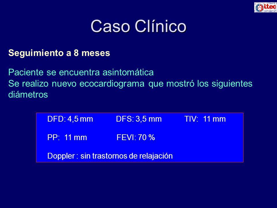 Caso Clínico Seguimiento a 8 meses Paciente se encuentra asintomática Se realizo nuevo ecocardiograma que mostró los siguientes diámetros DFD: 4,5 mm DFS: 3,5 mm TIV: 11 mm PP: 11 mm FEVI: 70 % Doppler : sin trastornos de relajación