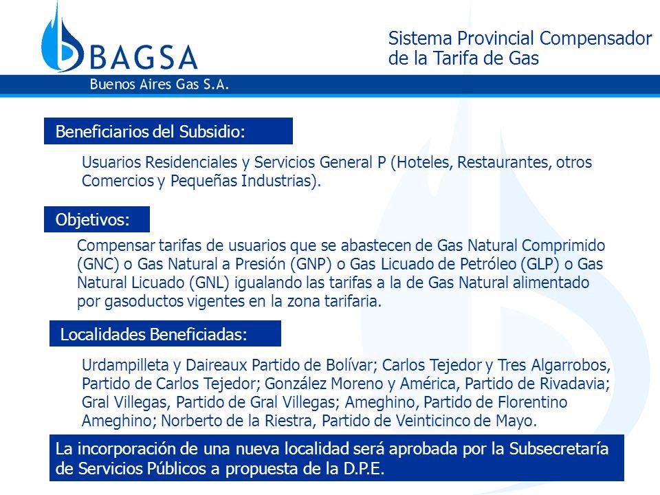 Sistema Provincial Compensador de la Tarifa de Gas Beneficiarios del Subsidio: Usuarios Residenciales y Servicios General P (Hoteles, Restaurantes, otros Comercios y Pequeñas Industrias).