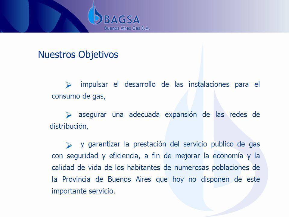 Nuestros Objetivos impulsar el desarrollo de las instalaciones para el consumo de gas,.