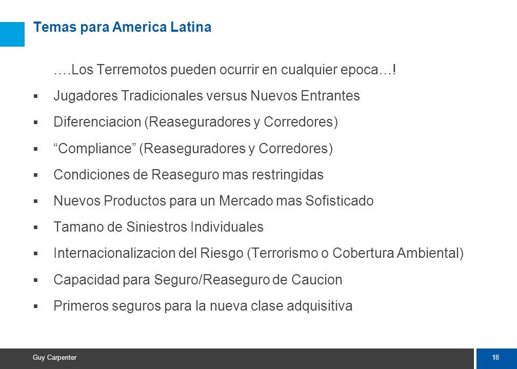18 Guy Carpenter Temas para America Latina ….Los Terremotos pueden ocurrir en cualquier epoca….