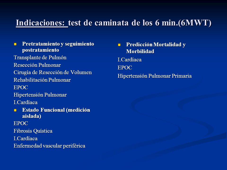 Indicaciones: test de caminata de los 6 min.(6MWT) Pretratamiento y seguimiento postratamiento Pretratamiento y seguimiento postratamiento Transplante