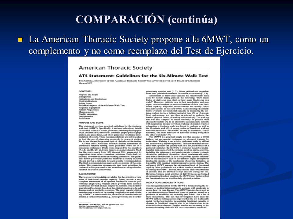 COMPARACIÓN (continúa) La American Thoracic Society propone a la 6MWT, como un complemento y no como reemplazo del Test de Ejercicio. La American Thor