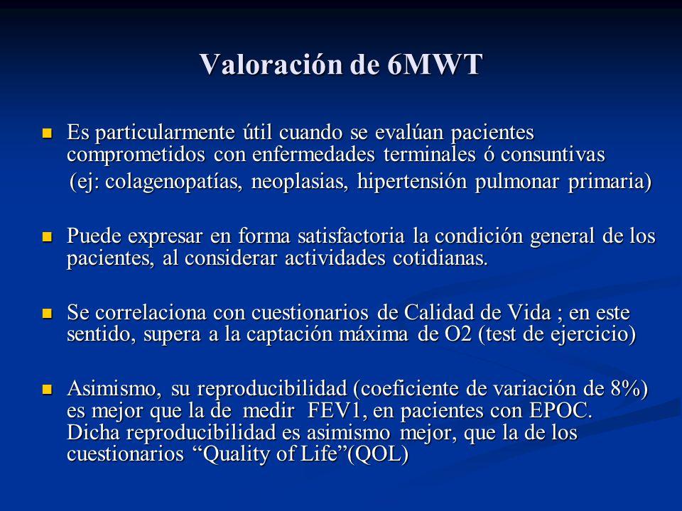 Valoración de 6MWT Es particularmente útil cuando se evalúan pacientes comprometidos con enfermedades terminales ó consuntivas Es particularmente útil