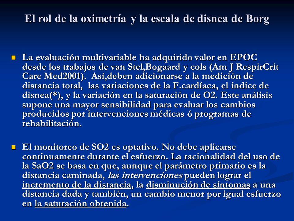 El rol de la oximetría y la escala de disnea de Borg La evaluación multivariable ha adquirido valor en EPOC desde los trabajos de van Stel,Bogaard y c
