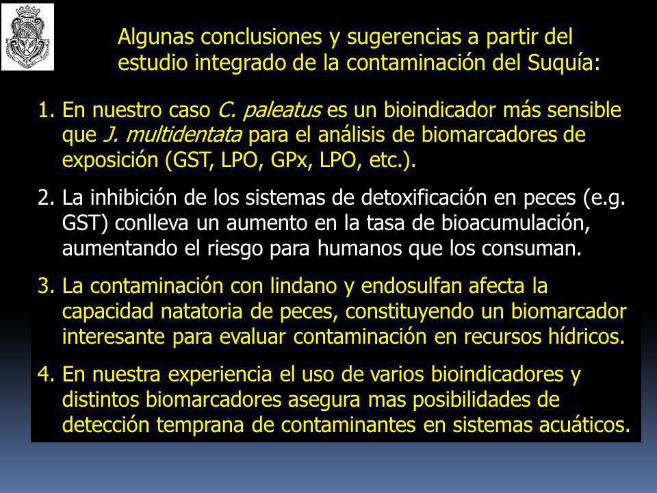 Algunas CONCLUSIONES y sugerencias a partir del estudio integrado de la contaminación del Suquía: 1.El uso de plantas, peces y microorganismos que act
