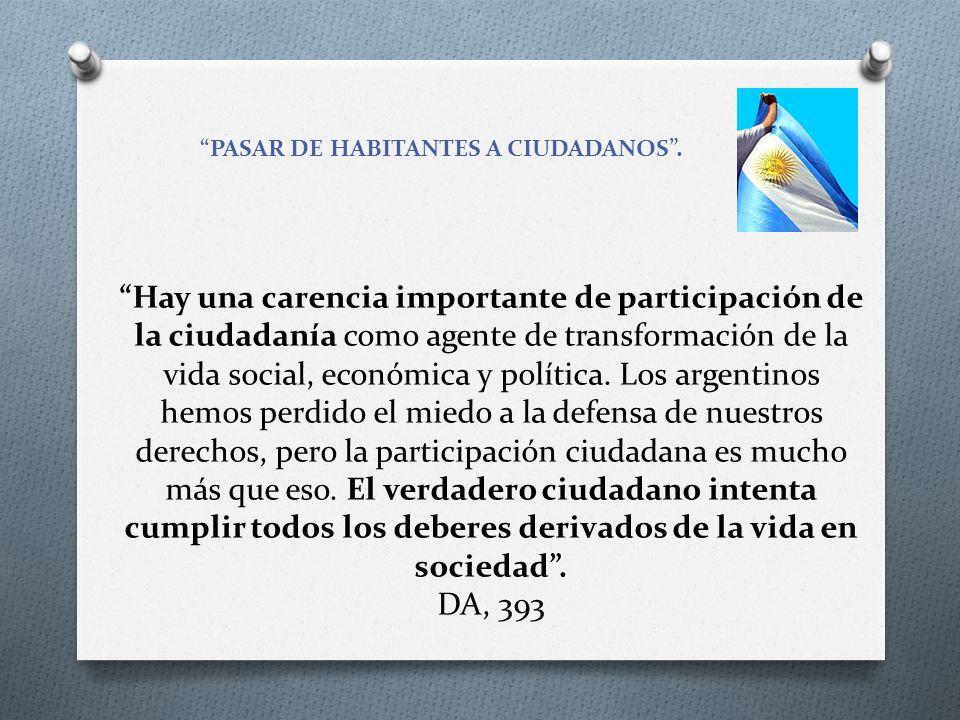 PASAR DE HABITANTES A CIUDADANOS. Hay una carencia importante de participación de la ciudadanía como agente de transformación de la vida social, econó
