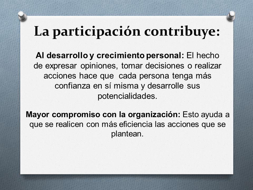 La participación contribuye: Al desarrollo y crecimiento personal: El hecho de expresar opiniones, tomar decisiones o realizar acciones hace que cada