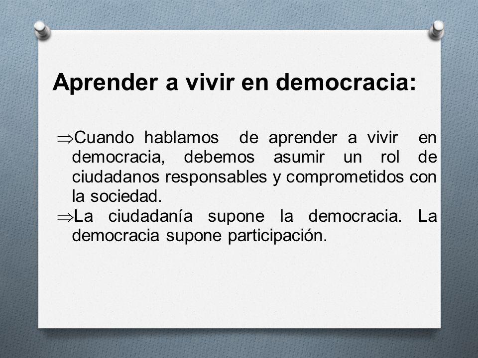 Aprender a vivir en democracia: Cuando hablamos de aprender a vivir en democracia, debemos asumir un rol de ciudadanos responsables y comprometidos co