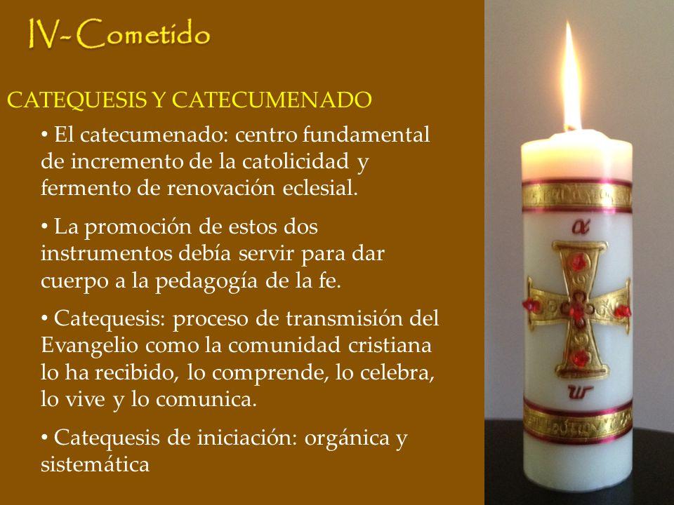 CATEQUESIS Y CATECUMENADO El catecumenado: centro fundamental de incremento de la catolicidad y fermento de renovación eclesial. La promoción de estos