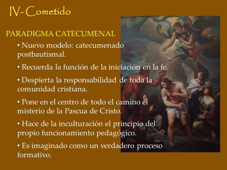 PARADIGMA CATECUMENAL Nuevo modelo: catecumenado postbautismal. Recuerda la función de la iniciación en la fe. Despierta la responsabilidad de toda la