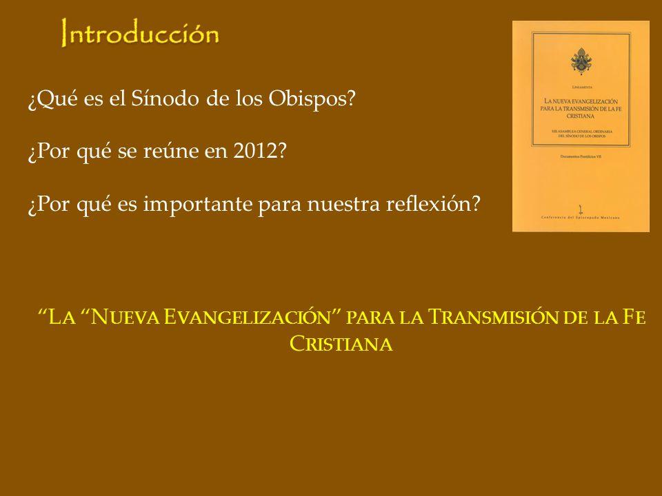 ¿Qué es el Sínodo de los Obispos? ¿Por qué se reúne en 2012? ¿Por qué es importante para nuestra reflexión? L A N UEVA E VANGELIZACIÓN PARA LA T RANSM