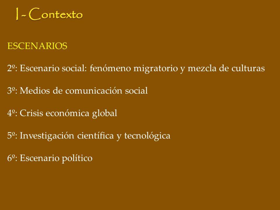 ESCENARIOS 2º: Escenario social: fenómeno migratorio y mezcla de culturas 3º: Medios de comunicación social 4º: Crisis económica global 5º: Investigación científica y tecnológica 6º: Escenario político