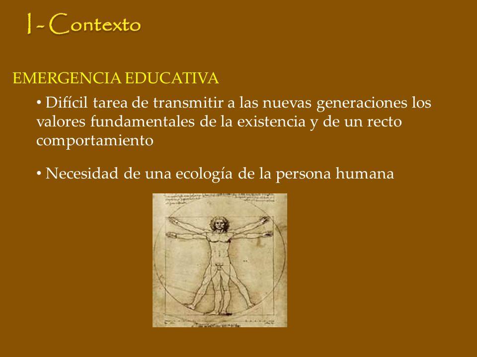 EMERGENCIA EDUCATIVA Difícil tarea de transmitir a las nuevas generaciones los valores fundamentales de la existencia y de un recto comportamiento Necesidad de una ecología de la persona humana