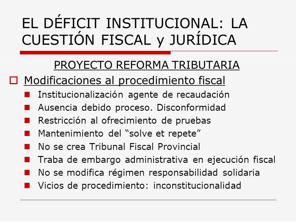 EL DÉFICIT INSTITUCIONAL: LA CUESTIÓN FISCAL y JURÍDICA PROYECTO REFORMA TRIBUTARIA Modificaciones al procedimiento fiscal Institucionalización agente de recaudación Ausencia debido proceso.
