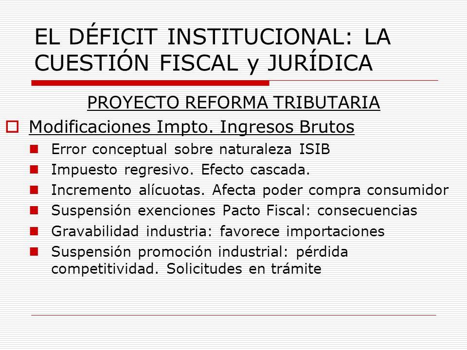 EL DÉFICIT INSTITUCIONAL: LA CUESTIÓN FISCAL y JURÍDICA PROYECTO REFORMA TRIBUTARIA Modificaciones Impto.