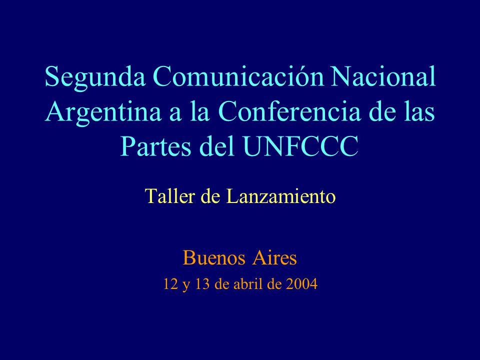 Segunda Comunicación Nacional Argentina a la Conferencia de las Partes del UNFCCC Taller de Lanzamiento Buenos Aires 12 y 13 de abril de 2004