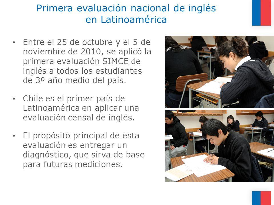 Primera evaluación nacional de inglés en Latinoamérica Entre el 25 de octubre y el 5 de noviembre de 2010, se aplicó la primera evaluación SIMCE de inglés a todos los estudiantes de 3º año medio del país.
