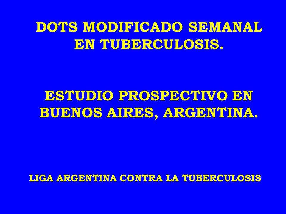 Desde marzo de 1998 y durante 4 años se integraron al plan DOTS SEMANAL MODIFICADO DOTS SEMANAL MODIFICADO todos los pacientes con diagnóstico de TB que concurrían a la Liga Argentina contra la Tuberculosis, en condiciones de efectuar un tratamiento ambulatorio.