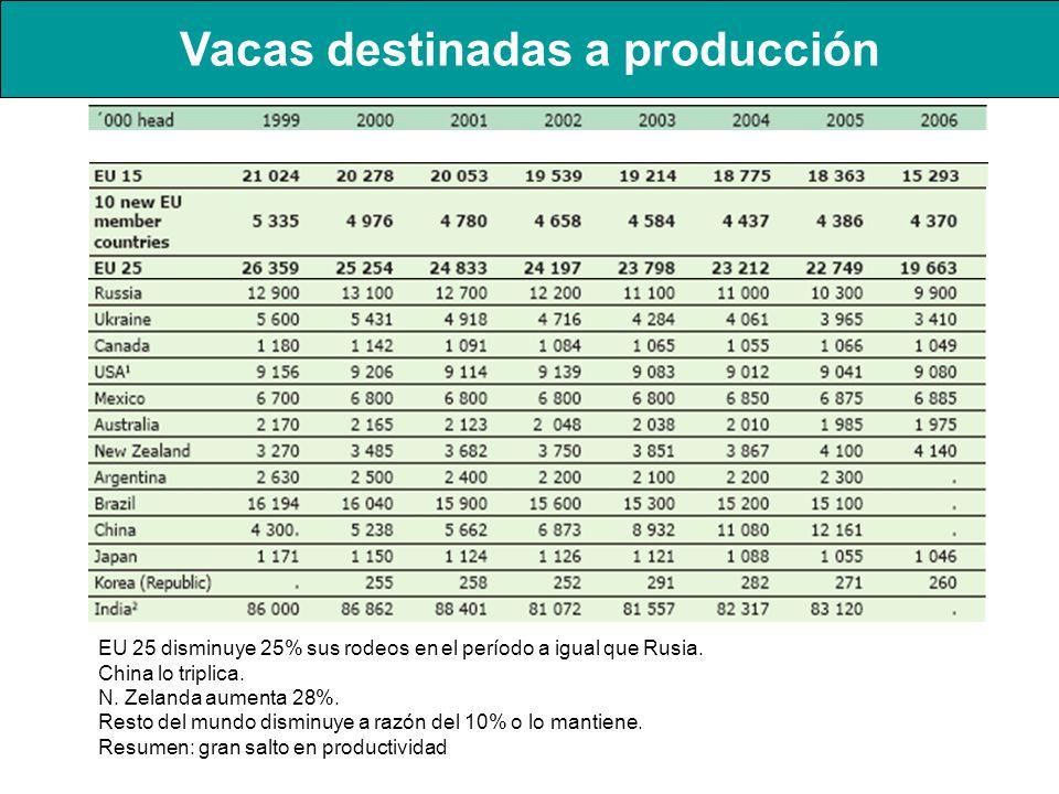 Vacas destinadas a producción EU 25 disminuye 25% sus rodeos en el período a igual que Rusia. China lo triplica. N. Zelanda aumenta 28%. Resto del mun