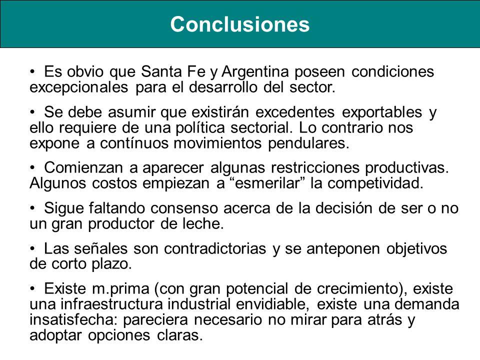 Conclusiones Es obvio que Santa Fe y Argentina poseen condiciones excepcionales para el desarrollo del sector. Se debe asumir que existirán excedentes