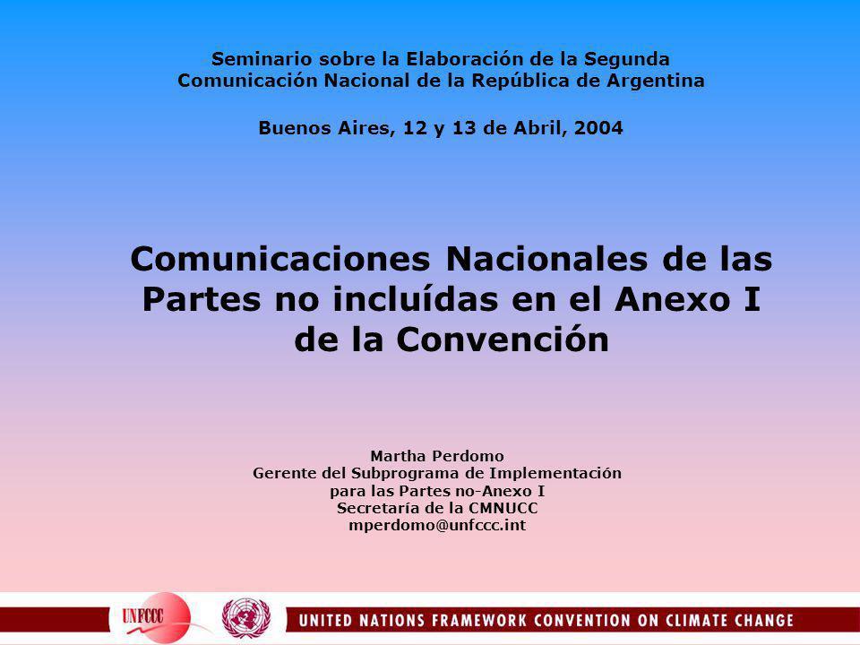 Seminario sobre la Elaboración de la Segunda Comunicación Nacional de la República de Argentina Buenos Aires, 12 y 13 de Abril, 2004 Comunicaciones Na