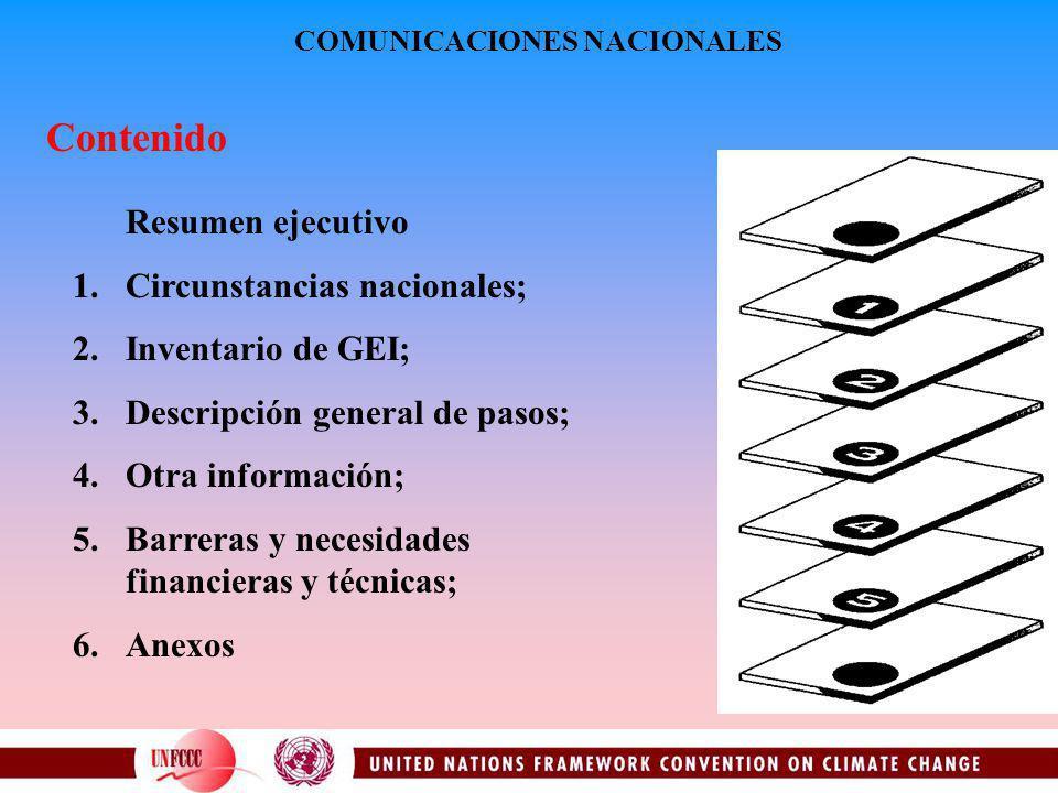 Contenido Resumen ejecutivo 1.Circunstancias nacionales; 2.Inventario de GEI; 3.Descripción general de pasos; 4.Otra información; 5.Barreras y necesidades financieras y técnicas; 6.Anexos COMUNICACIONES NACIONALES