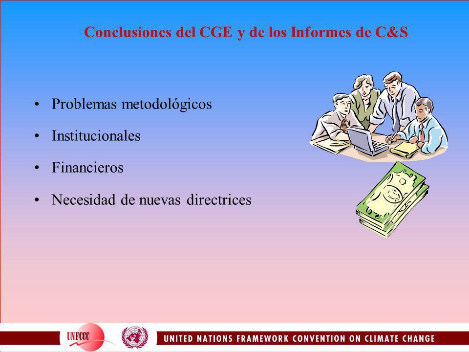 Conclusiones del CGE y de los Informes de C&S Problemas metodológicos Institucionales Financieros Necesidad de nuevas directrices